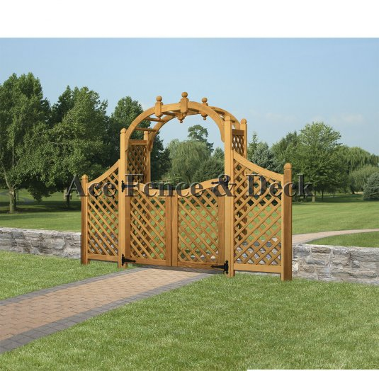 60'' Victorian Round Top arbor with wings and gate